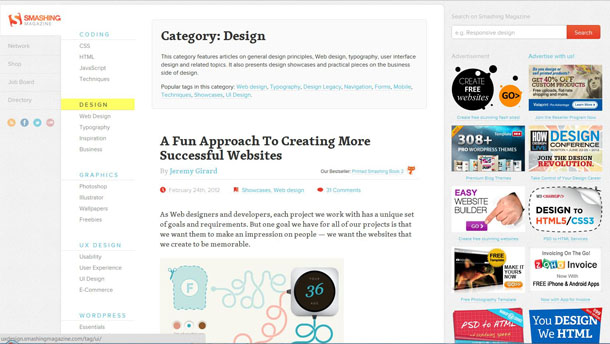 Smashing Magazine - Online magazine for professional Web designers and developers